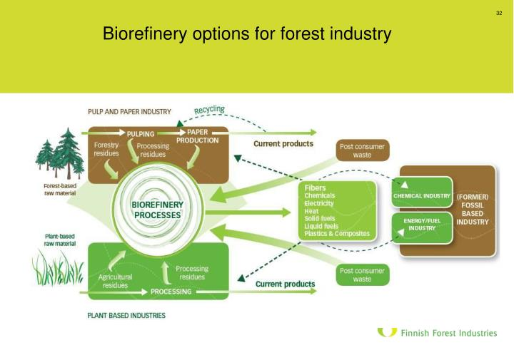 Biorefinery options for forest industry