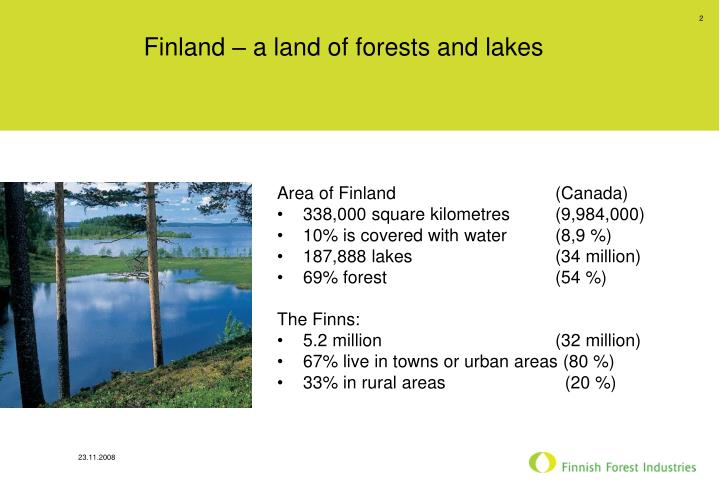 Finland a land of forests and lakes