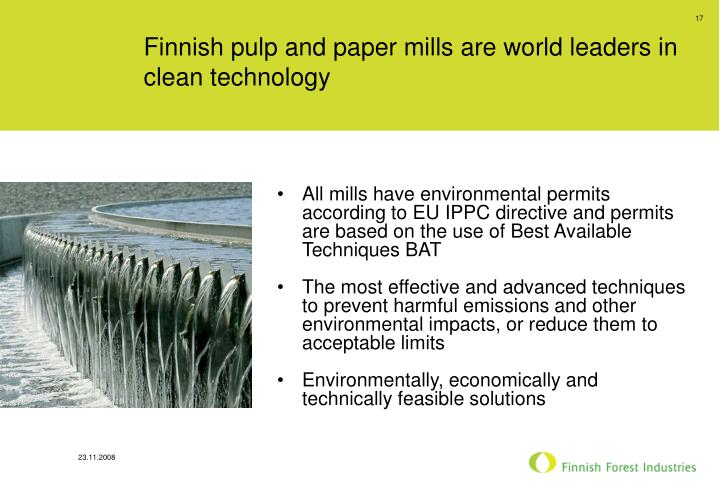 Finnish pulp and paper mills are world leaders in clean technology