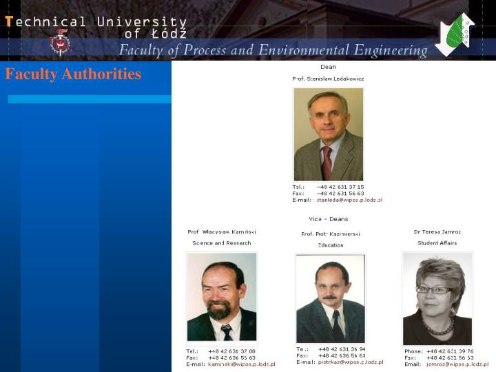 Faculty Authorities