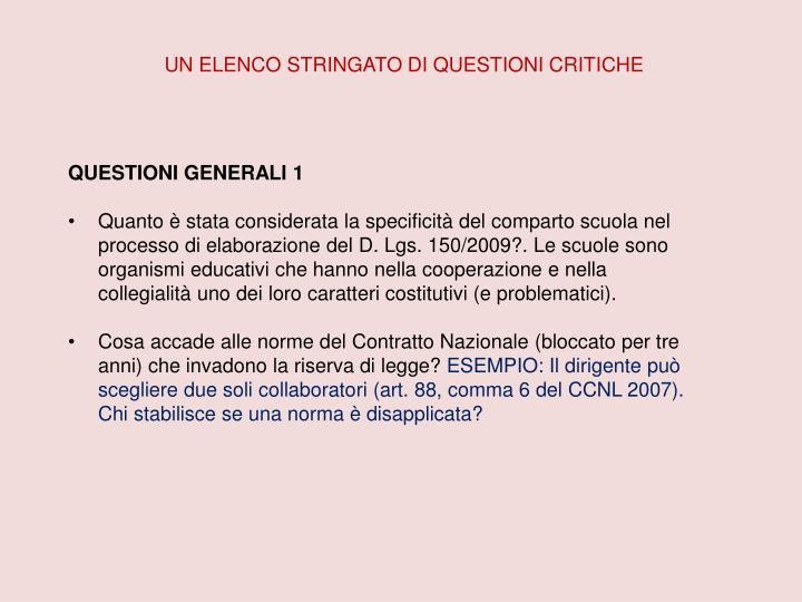 UN ELENCO STRINGATO DI QUESTIONI CRITICHE