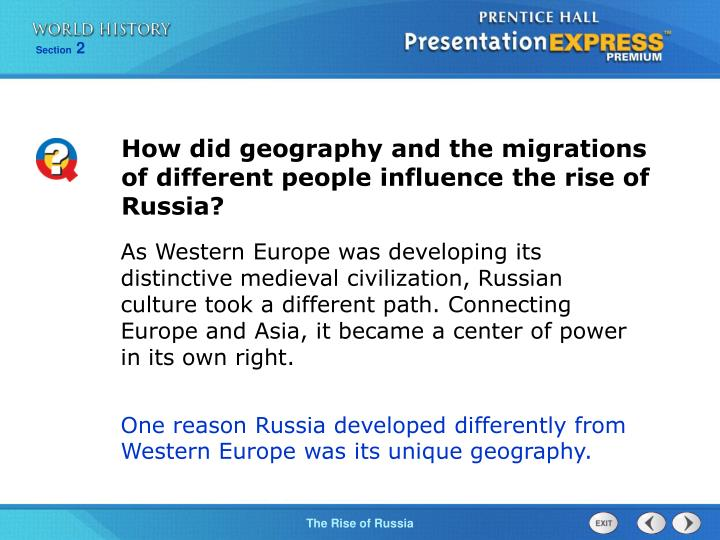 How did geography and the migrations of different people influence the rise of Russia?