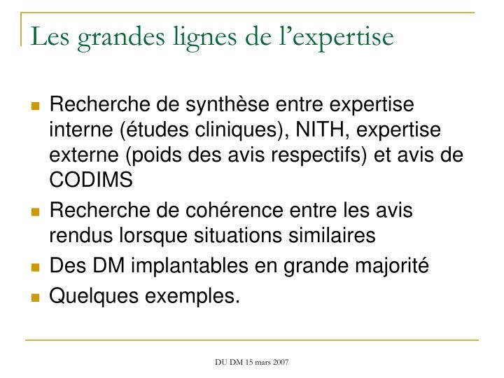Les grandes lignes de l'expertise