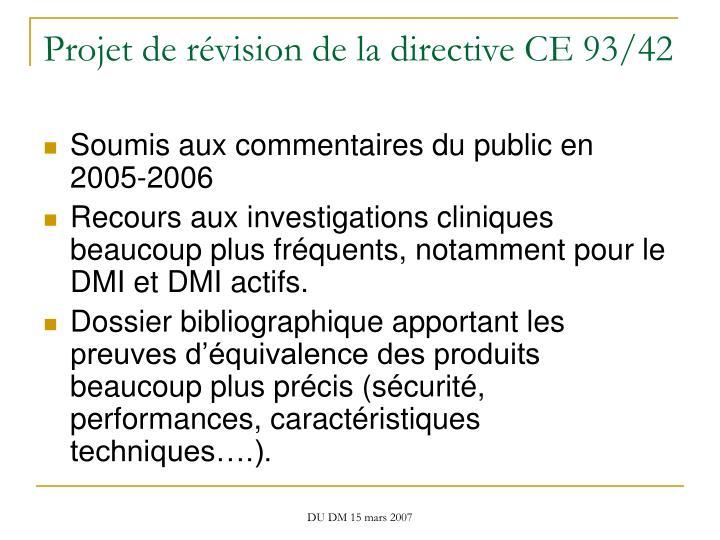 Projet de révision de la directive CE 93/42
