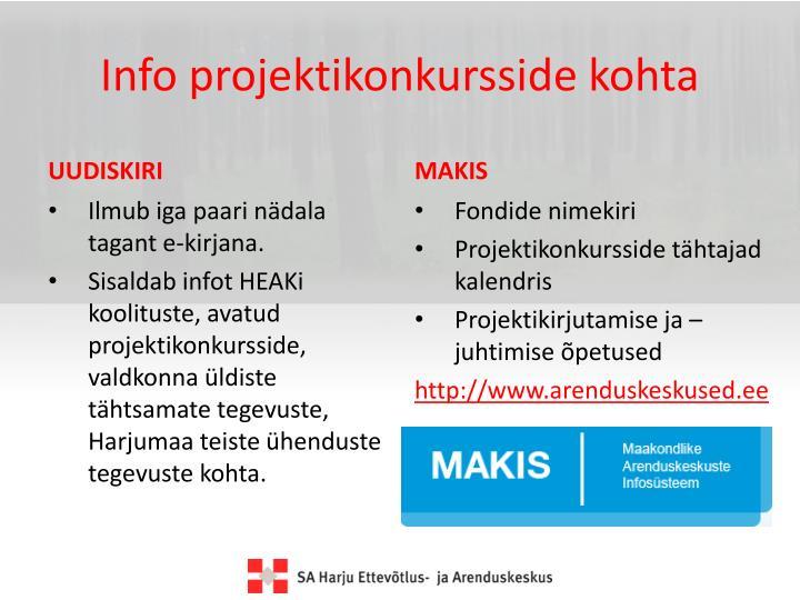 Info projektikonkursside kohta