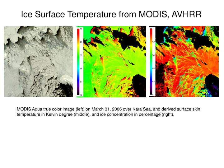 MODIS Aqua true color image (left) on March 31, 2006 over Kara Sea, and derived surface skin temperature in Kelvin degree (middle), and ice concentration in percentage (right).