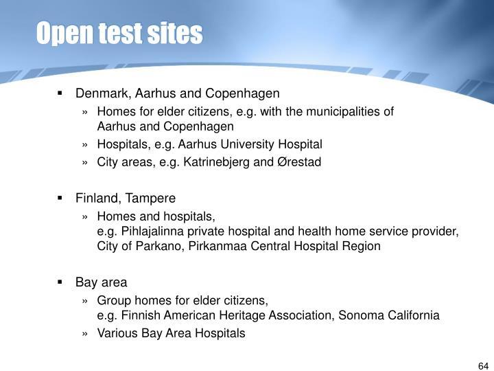 Open test sites