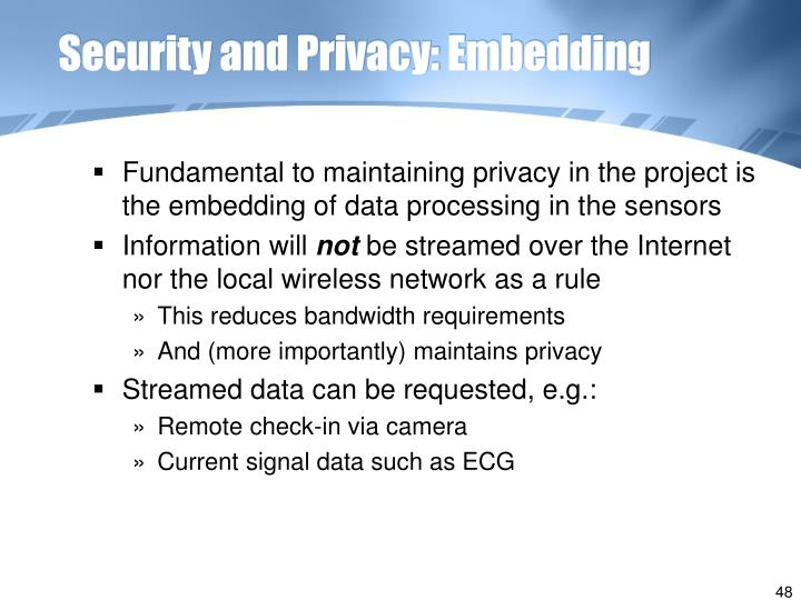 Security and Privacy: Embedding