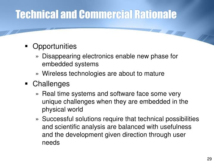 Technical and Commercial Rationale