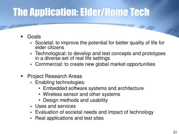 The Application: Elder/Home Tech
