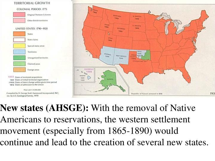 New states (AHSGE):