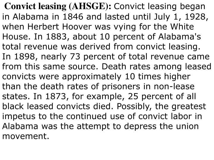 Convict leasing (AHSGE):