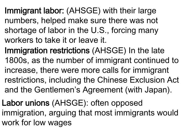 Immigrant labor:
