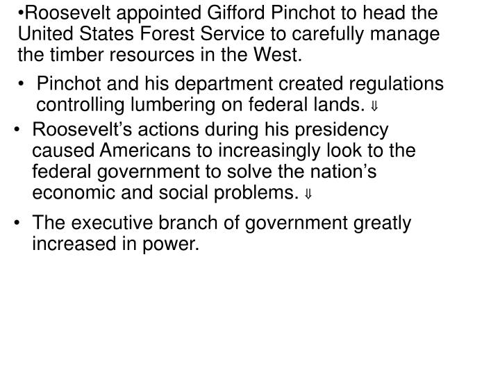 Roosevelt appointed Gifford Pinchot to head the United States Forest Service to carefully manage the timber resources in the West.