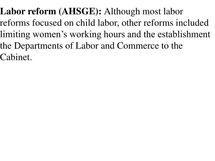 Labor reform (AHSGE):