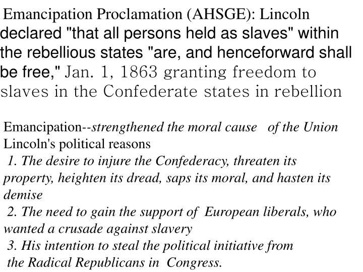 Emancipation Proclamation (AHSGE): Lincoln