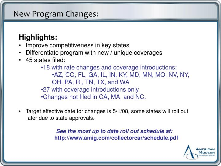 New Program Changes:
