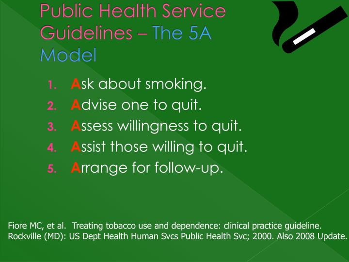 Public Health Service Guidelines –