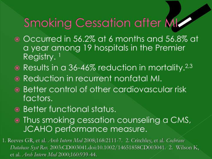 Smoking Cessation after MI