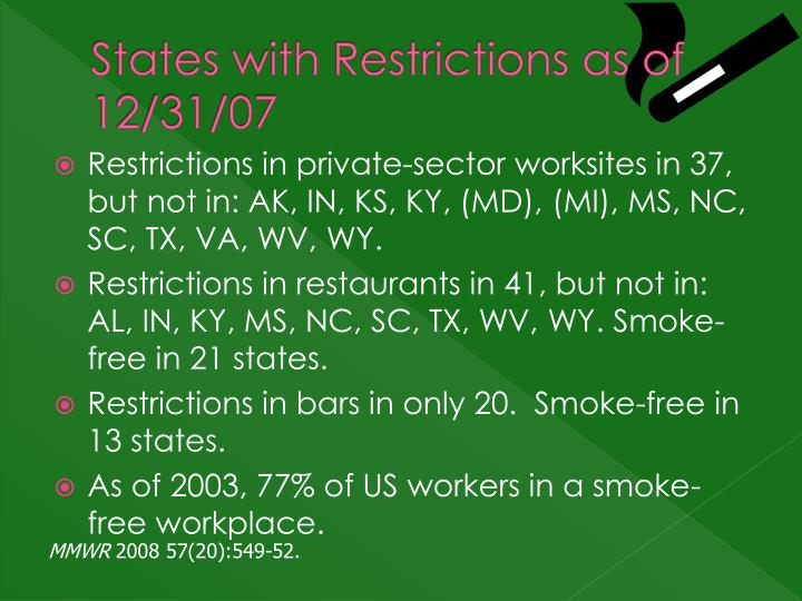 States with Restrictions as of 12/31/07