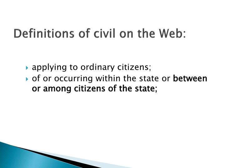 Definitions of civil on the web