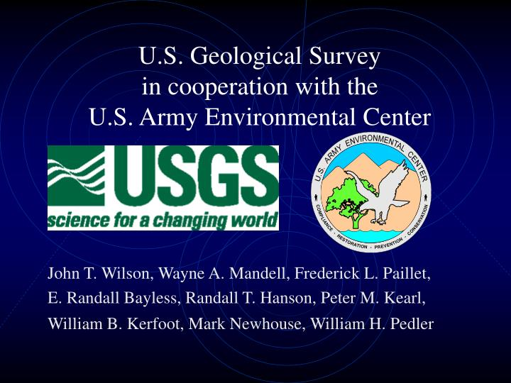 U s geological survey in cooperation with the u s army environmental center