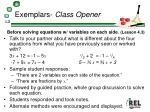 exemplars class opener