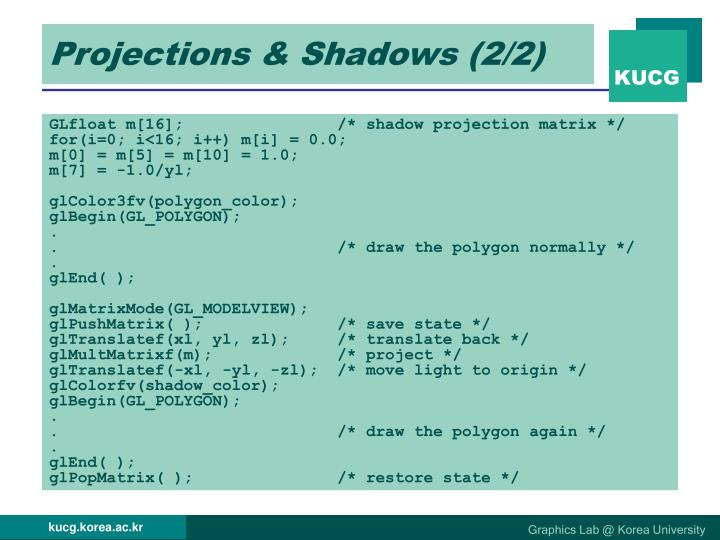 Projections & Shadows (2/2)