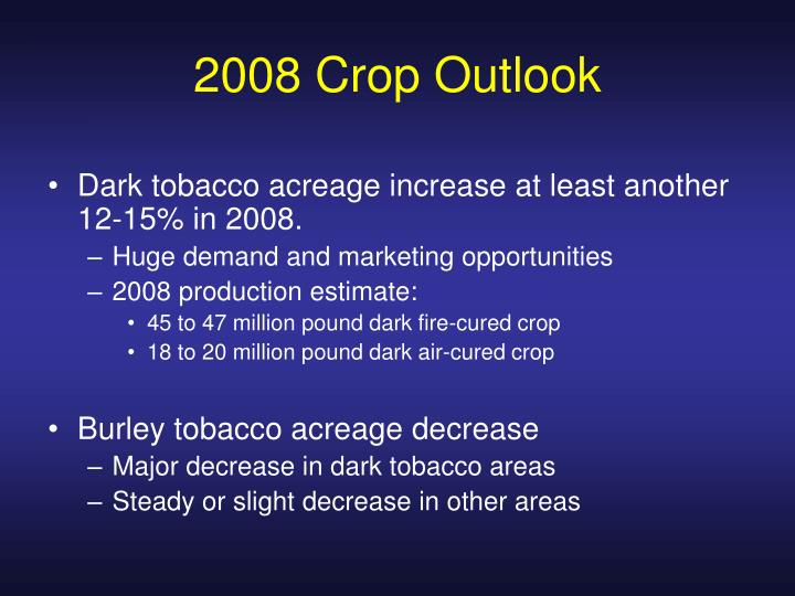 2008 Crop Outlook