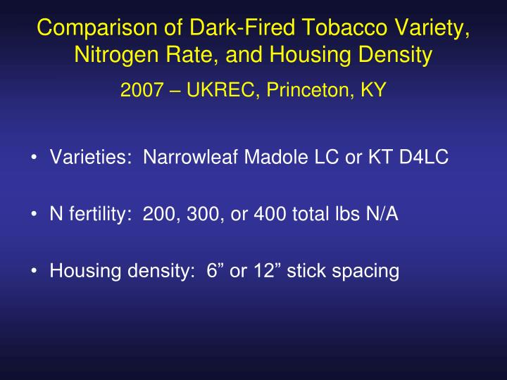 Comparison of Dark-Fired Tobacco Variety, Nitrogen Rate, and Housing Density