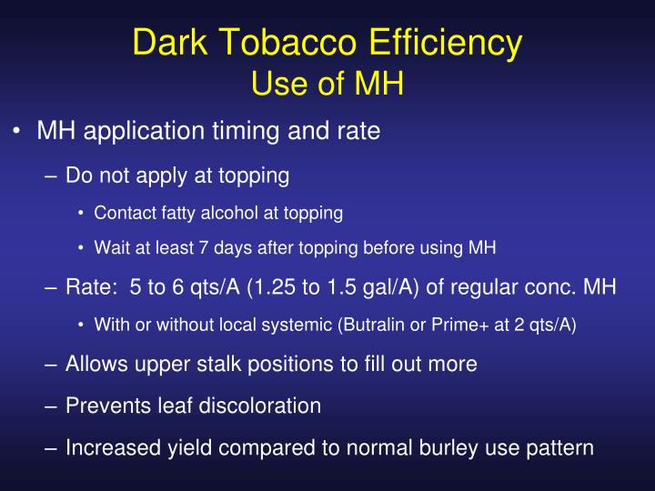 Dark Tobacco Efficiency