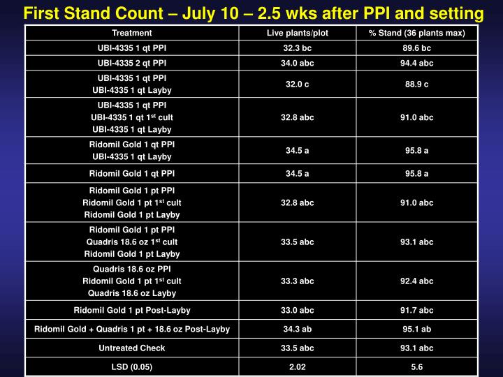 First Stand Count – July 10 – 2.5 wks after PPI and setting