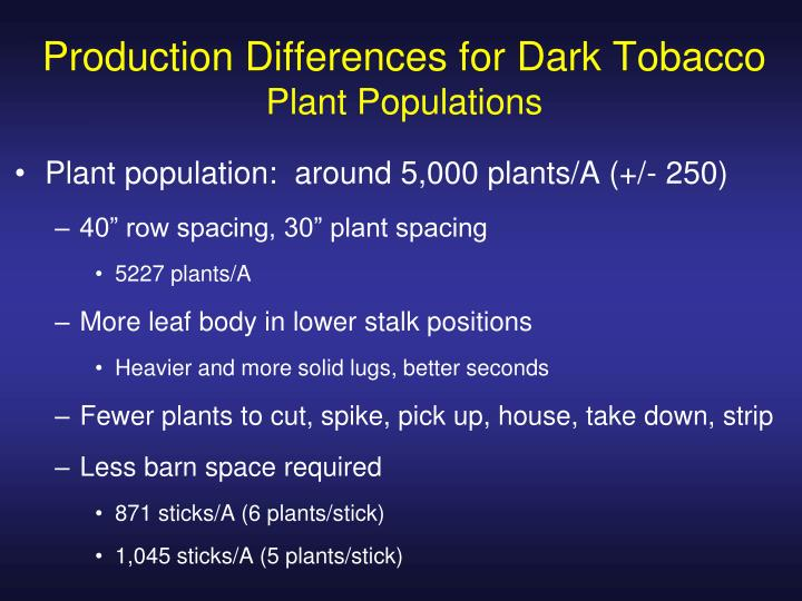 Production Differences for Dark Tobacco