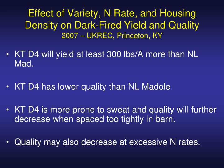 Effect of Variety, N Rate, and Housing Density on Dark-Fired Yield and Quality