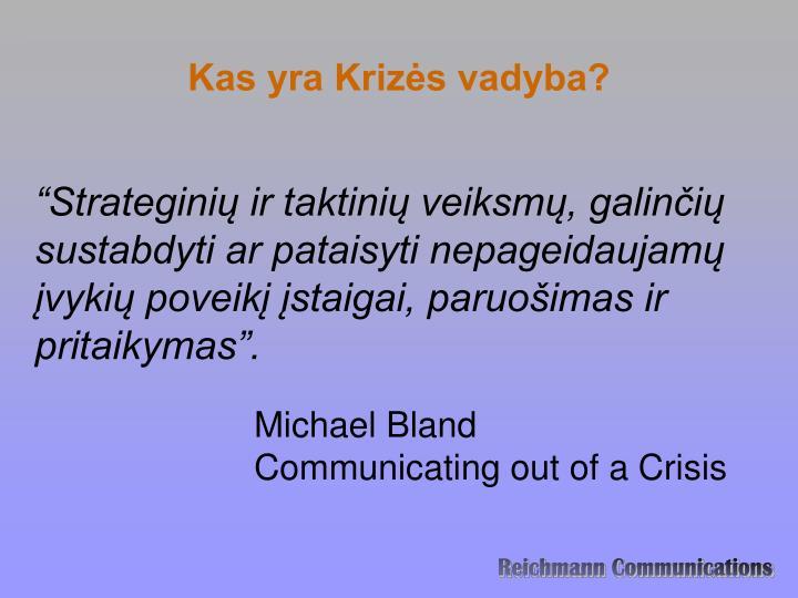 Kas yra Krizės vadyba?