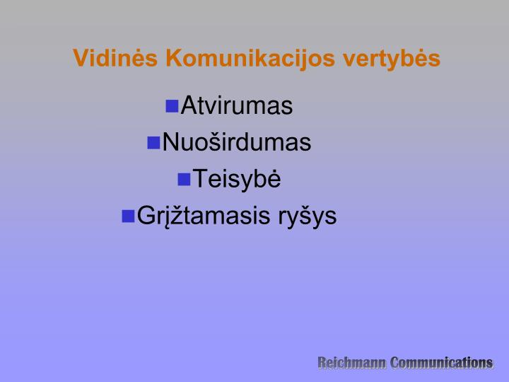 Vidinės Komunikacijos vertybės