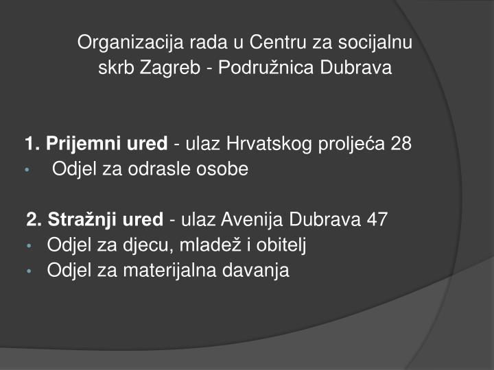Organizacija rada u Centru za socijalnu