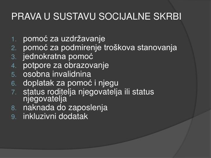 PRAVA U SUSTAVU SOCIJALNE SKRBI