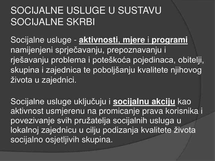 SOCIJALNE USLUGE U SUSTAVU SOCIJALNE SKRBI