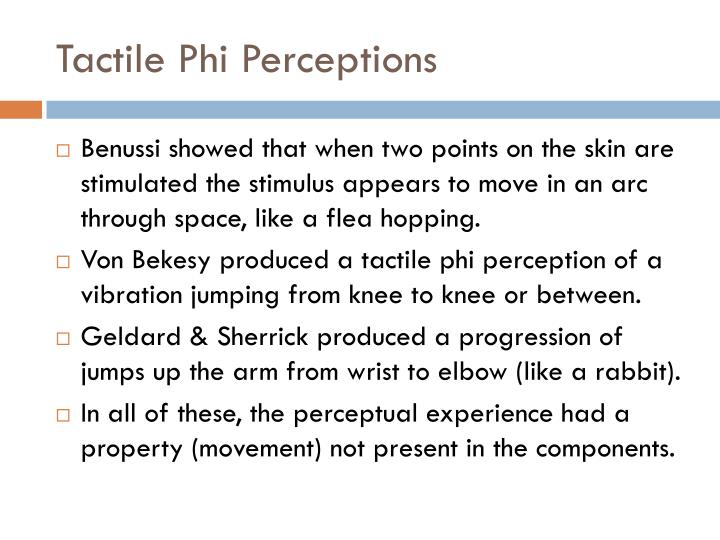 Tactile Phi Perceptions