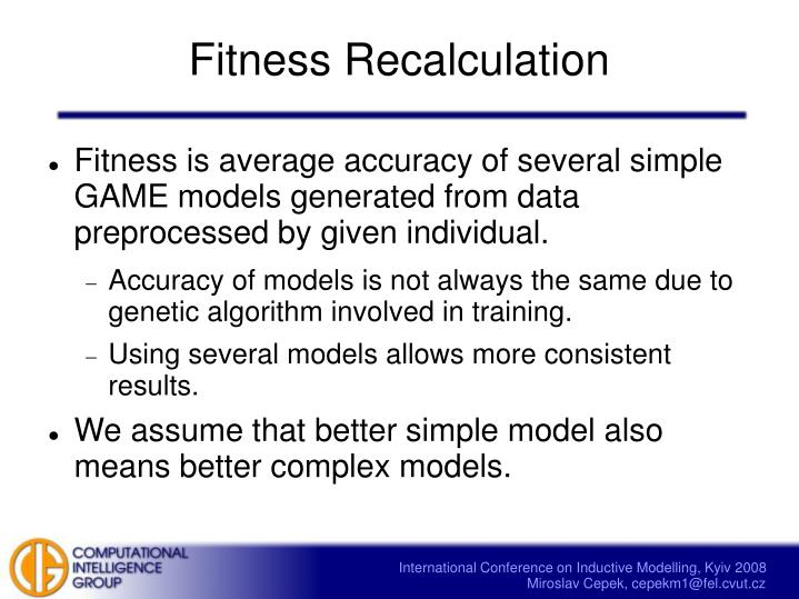 Fitness Recalculation