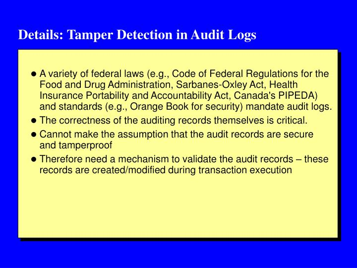 Details: Tamper Detection in Audit Logs
