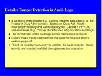 details tamper detection in audit logs