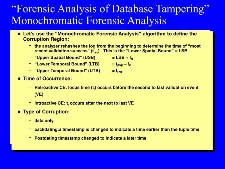 """""""Forensic Analysis of Database Tampering"""""""