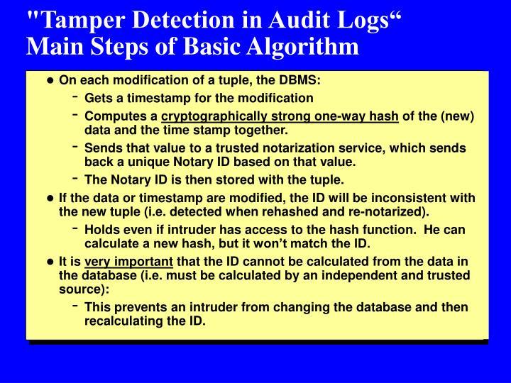"""""""Tamper Detection in Audit Logs"""""""