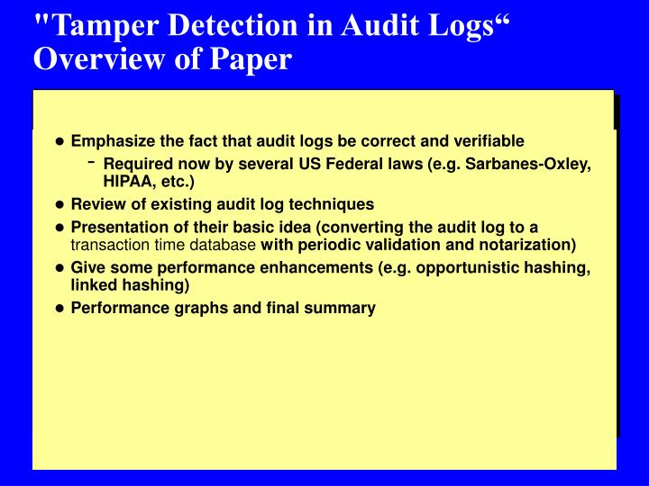 Tamper detection in audit logs overview of paper