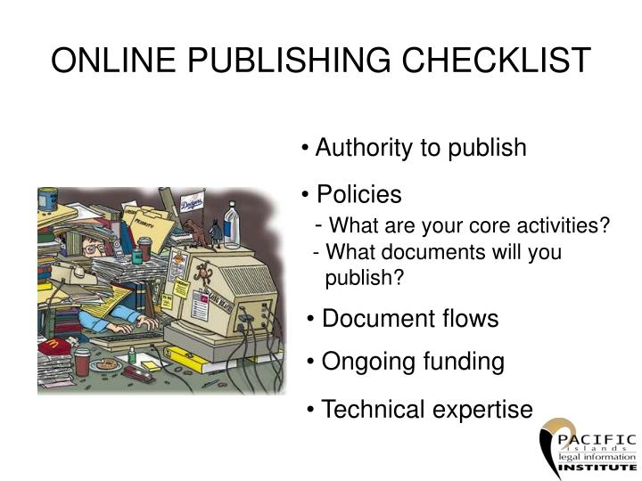 ONLINE PUBLISHING CHECKLIST