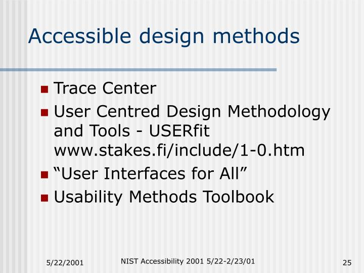 Accessible design methods