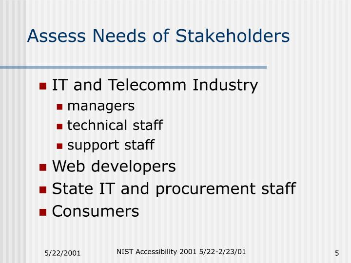 Assess Needs of Stakeholders