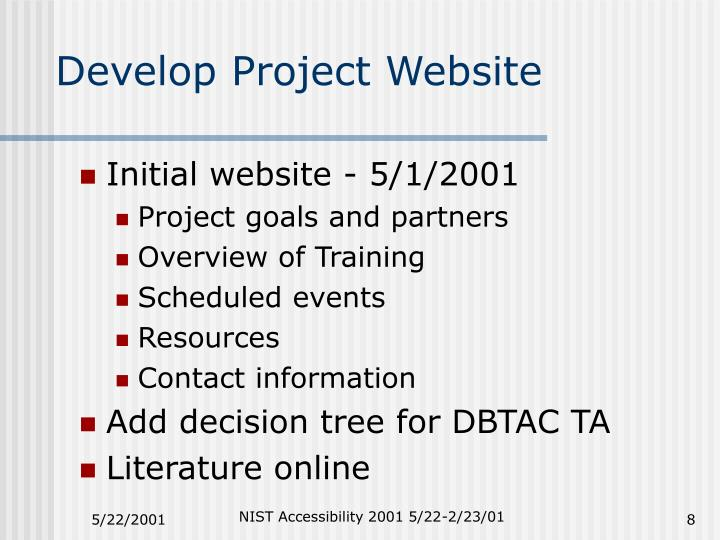 Develop Project Website